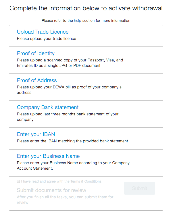 Requirements for you to setup Paypal Withdrawal in the UAE